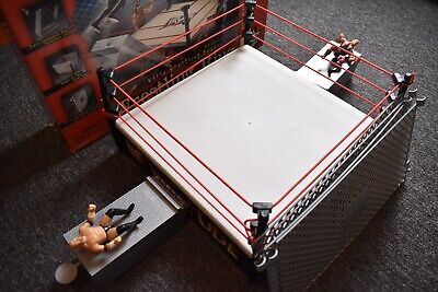 "JAKKS Pacific Vtg 1998 14"" WWE/WWF Attitude Wrestling Ring w/ Cage Catapults NIB"