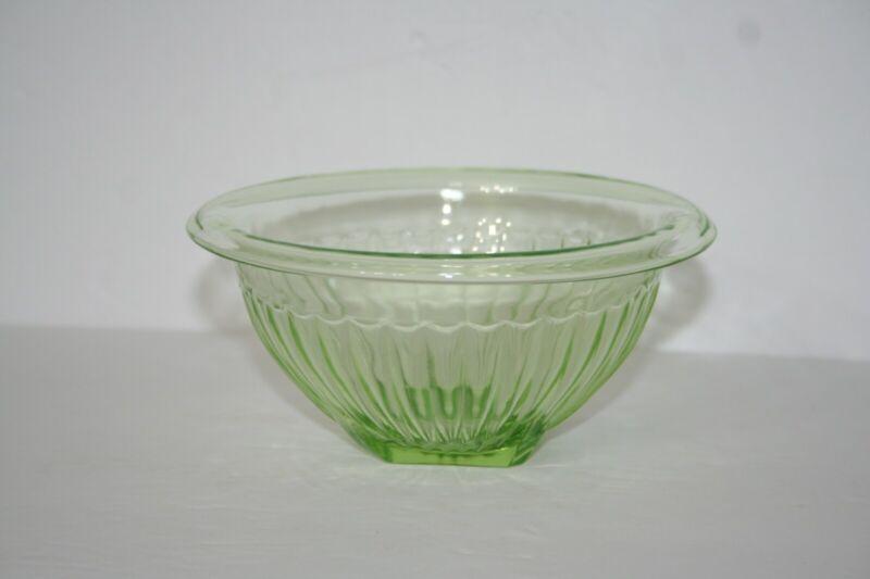 "Green Depression Glass Rolled Edge Ribbed 6"" Bowl Hazel Atlas"