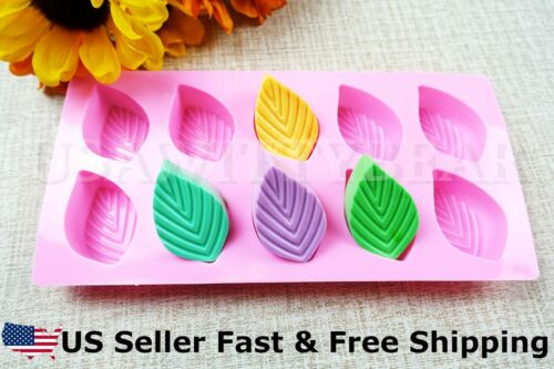 DIY 10-Cavity Leaf Shaped Leaves Silicone Handmade Soap Mold US Seller