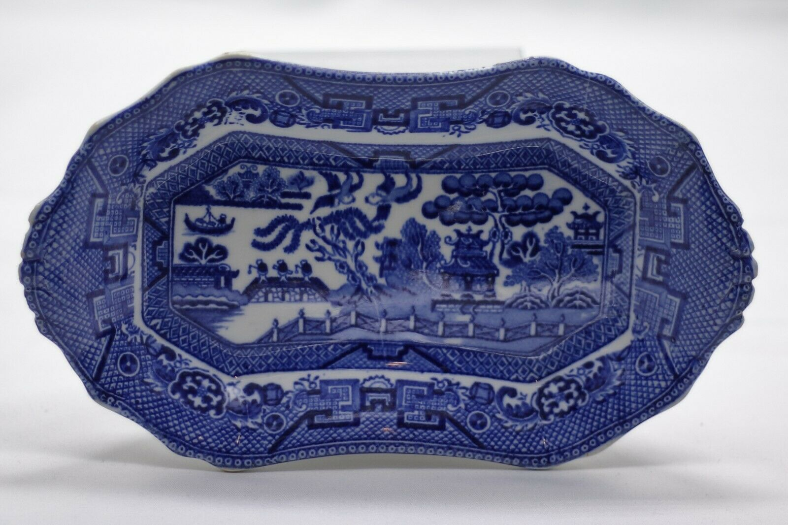 Allertons Blue Willow Relish Plate / Butter Plate England Vintage RARE  - $68.00