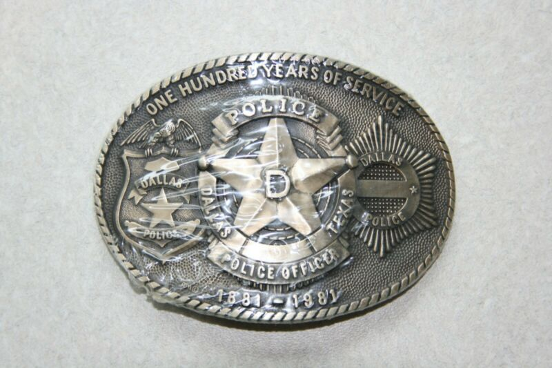Dallas Police 100 years of service anniversary belt buckle