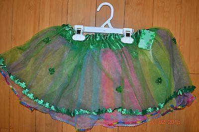 St. Patrick's Day Skirt TuTu Multicolor Green Shamrock Sheer Junior's S/M - NWT