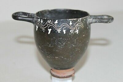 QUALITY ANCIENT GNATHIAN SKYPHOS GREEK POTTERY 4th BC WINE CUP
