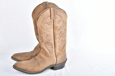 Dan Post Mens Rustic Rough Out Distressed Leather Cowboy Boots Size 9D Tan/Brown