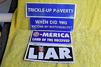 4 PK ANTI BARACK OBAMA/HILLARY CLINTON LARGE POLITICAL BUMPER STICKERS! LIAR etc Anti Barack Obama Stickers