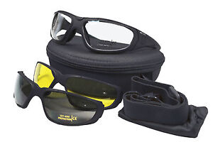 Multi-Lens COMBAT GOGGLES TACTICAL UV 400 Military Safety Glasses - Black