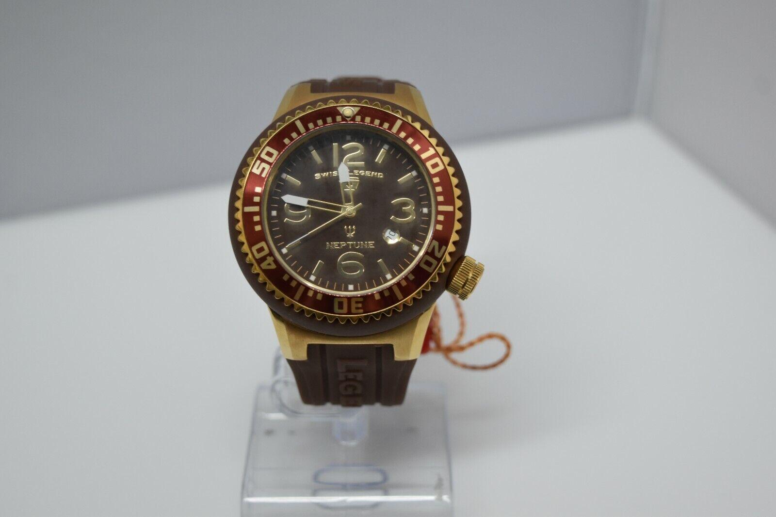 Swiss Legend Neptune Swiss Oversized 52mm Watch Brown/YG/Brown