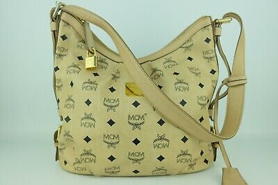 100% Authentic MCM Beige Visetos Hobo Shoulder Bag With Lock and Key