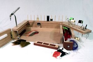 Fly Tying  Work Station PORTABLE (key words rod trout fishing desk wood vise)