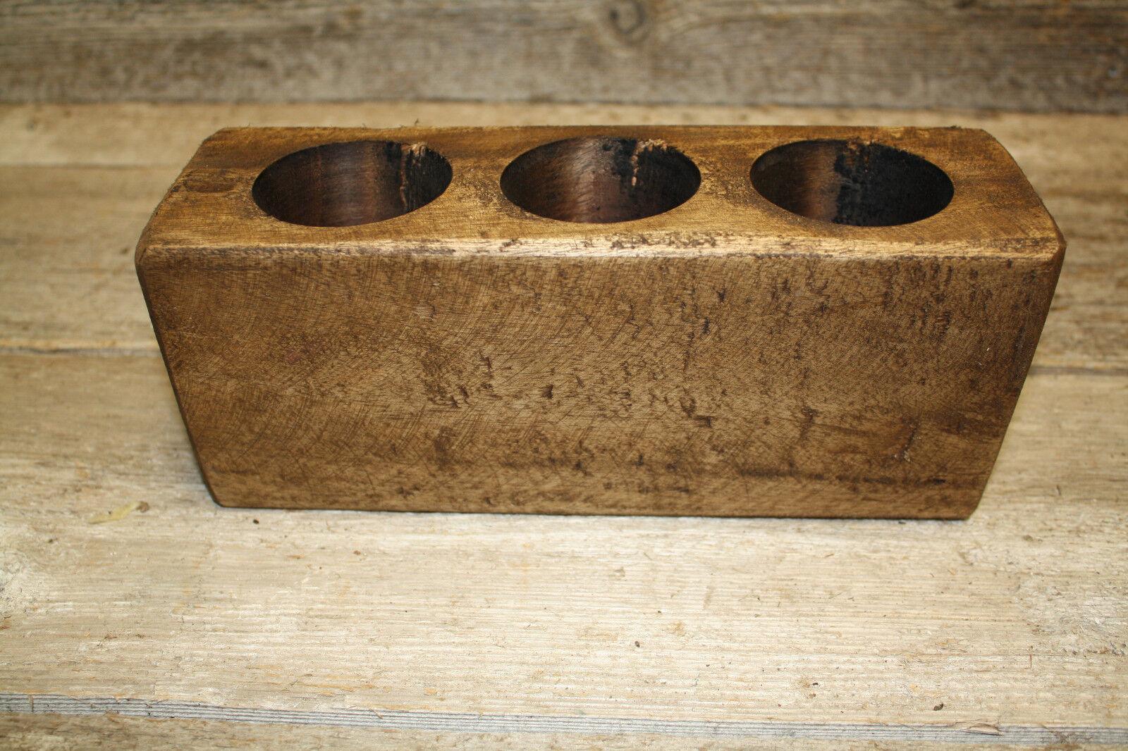 Lot of 20 2 Hole Wooden Sugar Mold Wood Candle Holder Primitive