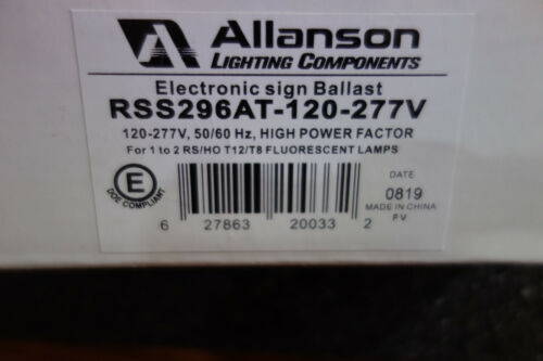 ALLANSON BALLAST ELECTRONIC SIGN RSS-296 AT 120-277 SIMPLE wiring! SAME COLORS!
