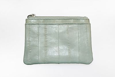 Genuine Eel Skin Leather - Small Rectangle Coin & Card Purse/ Smoke (Dent Sale)
