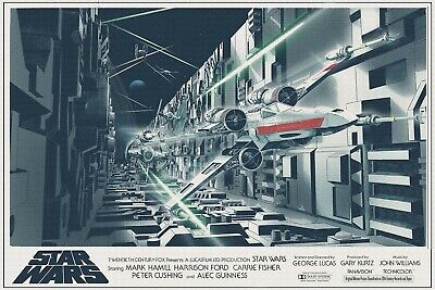"""STAR WARS A NEW HOPE 1977 custom x wing fighter poster 30x40"""" quad sized."""