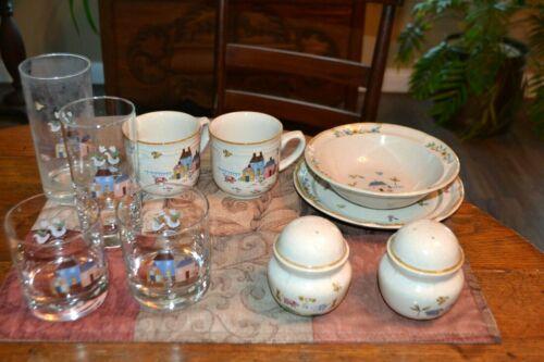 10 Pc Lot International Heartland 7774 Farm Salt Pepper Glasses Cups Bowl Plate