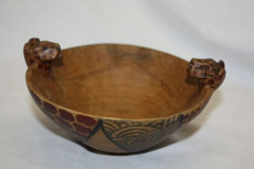 Leopard Head Hand Carved Wooden Bowl