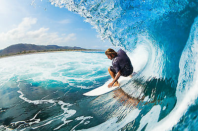 STUNNING SURFING WAVES CANVAS #7 QUALITY FRAMED PICTURE WALL ART A1