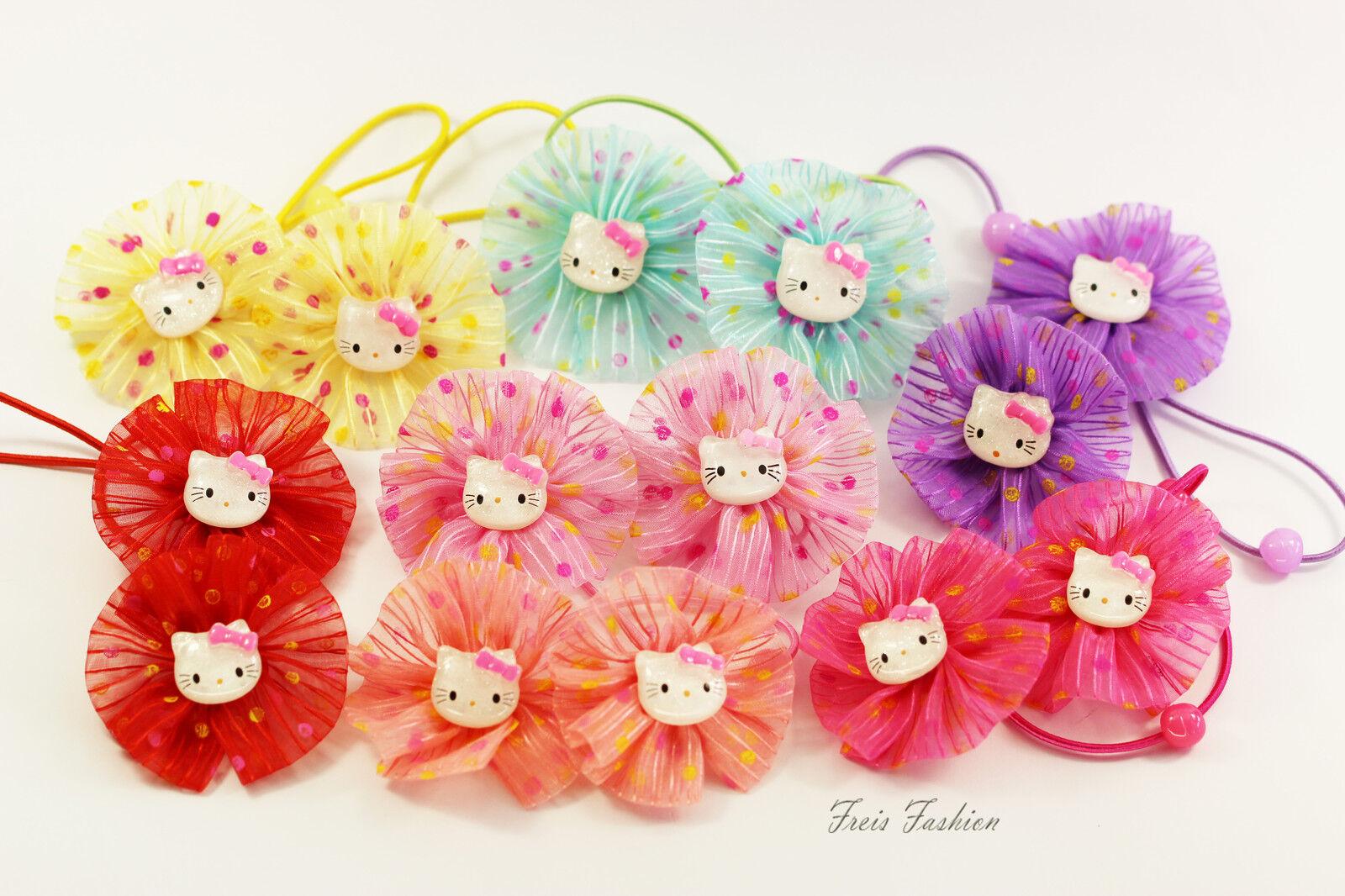 2x Haargummis Blume Hello Kitty Mädchen Haarschmuck K017
