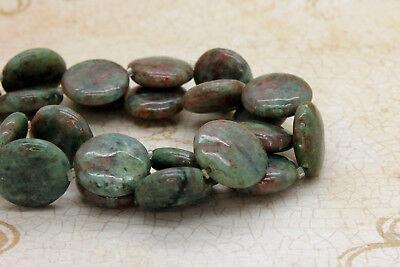 Red Green Garnet Smooth Flat Round Natural Gemstone Beads - Full 15.5