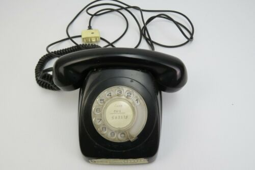 Vintage Black rotary face table phone PMG