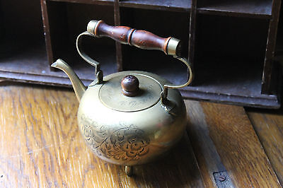 Vintage Indian Asian Brass Kettle Tea Pot Engraved Decoration