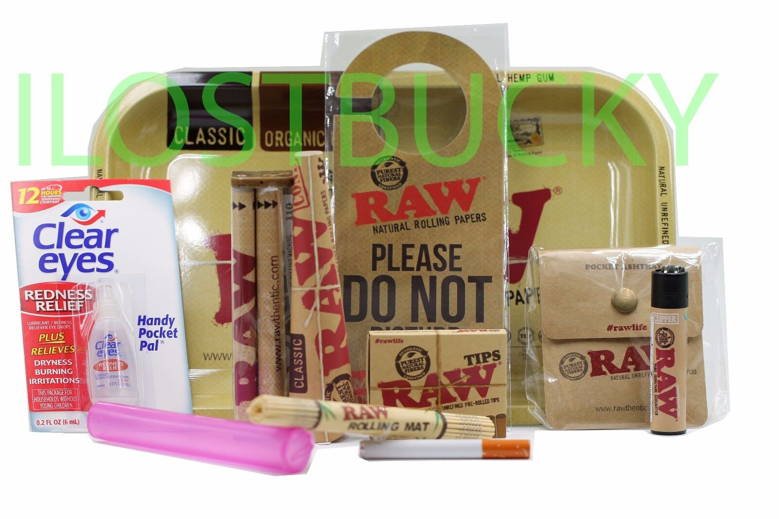 RAW 7x11 TRAY-KING SIZE SLIM ROLLING PAPERS+TIPS+ROLLING MACHINE+LIGHTER ETC