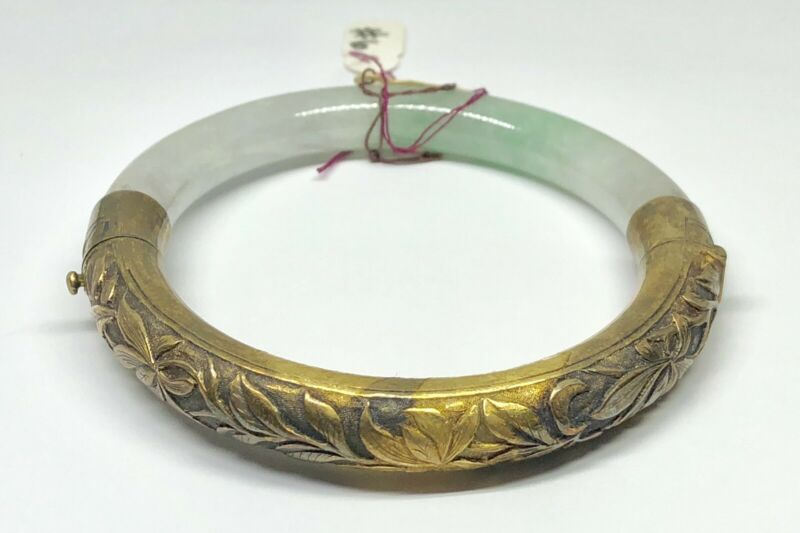 Vintage Gold Washed Silver White & Green Jadeite Jade Chinese Bangle Bracelet (D