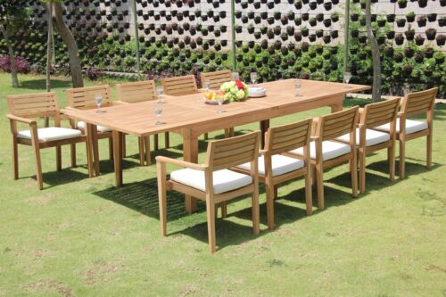 """11 PC TEAK OUTDOOR DINING SET 122"""" RECTANGLE EXTN TABLE+10 MONTA STACKING CHAIRS"""
