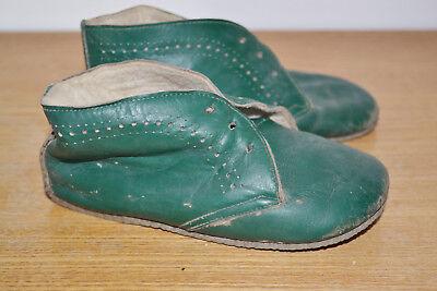 alt Kinder Schuhe Kinderschuhe Dunkelgrün Leder Halbschuhe Hausschuh Shabby Deko