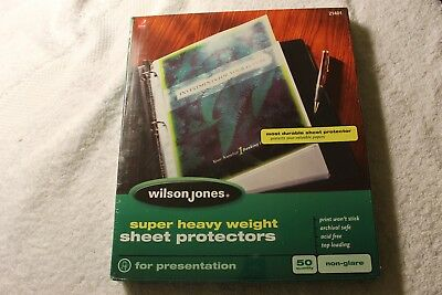 Wilson Jones Super Heavy Weight Sheet Protector Non-glare Finish Clear Qty 50