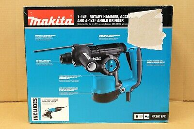Makita 1-18 Rotary Hammer Drill And Bonus 4-12 Angle Grinder Hr2811fx New
