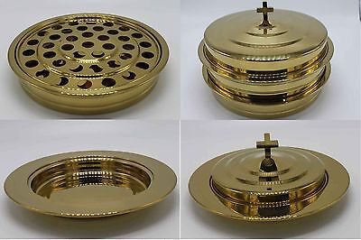 Brasstone-2 Stainless Steel Communion Trays with 1 lid and 2 Bread Tray set