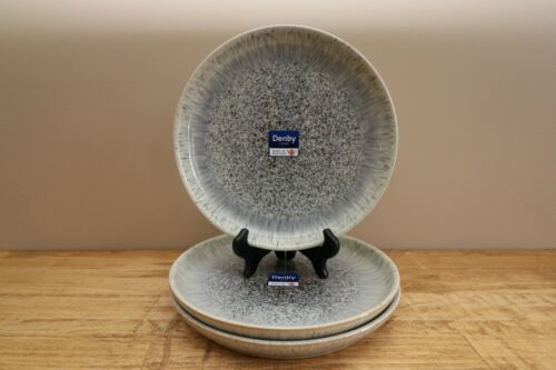 """Denby Halo Speckle Coupe Dinner Plates - Lot of 3 - 10.25"""" - New - Mint"""
