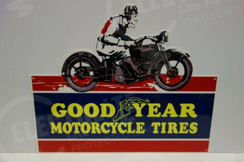 "GOODYEAR MOTORCYCLE TIRES  Enamel Sign 19 1/2"" high by 24"" wide. LARGE DIE CUT"