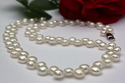 A51 40 cm Zucht Süßwasser Perlen Schmuck Halskette 2-reihige Kette Collier neu