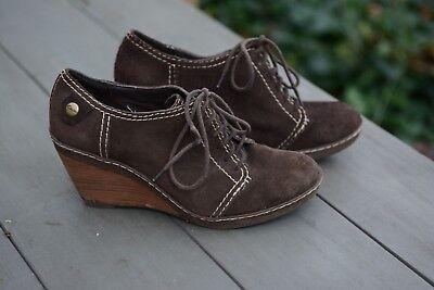 Clarks chaussures femme à talon compensé 39 cuir nubuk brun