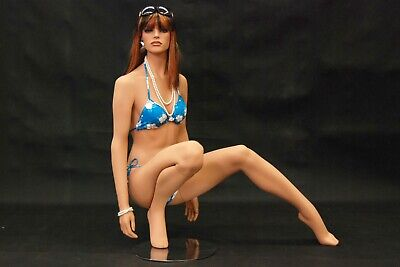 Female Flesh Tone Pretty Realistic Kneeling Full Body Female Mannequin With Wig