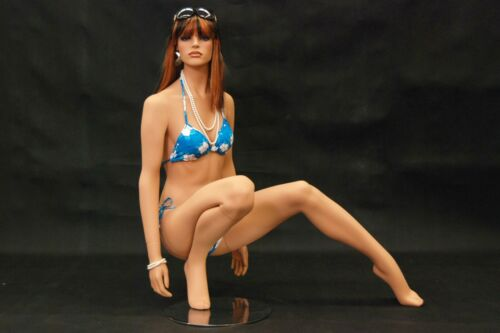 Female Flesh Tone Pretty Realistic Kneeling Full Body Female Mannequin with Wig