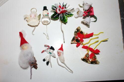 Vintage Christmas Gift Tie-On Notion Santa Angel Pipecleaner Snowman Sugar Bells