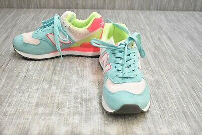 New Balance 574 WL574NIA Classics Athletic Shoe-Women's Size 7.5B, Blue/Lime/Pnk
