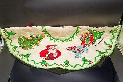 Vintage 1950's or 1960's era 34 inch Hand-Sewn Christmas Tree Skirt