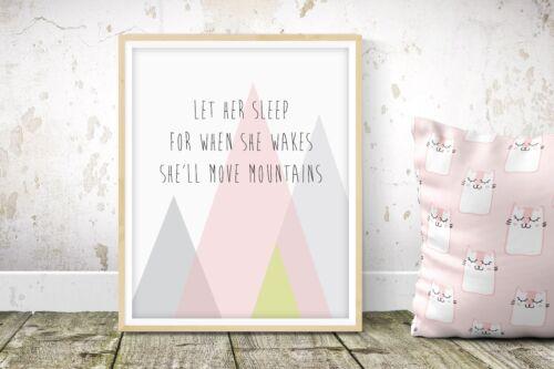 She Will Move Mountains - Nursery Print - Baby Room - Wall Art - Kids Bedroom