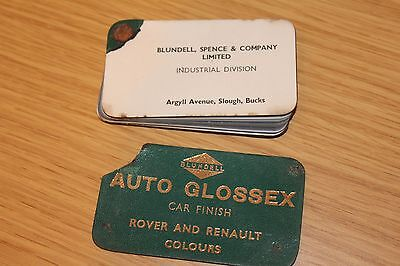 Rover & Renault Colours Car Finish Paint Chips 1965 Blundell Auto Glossex