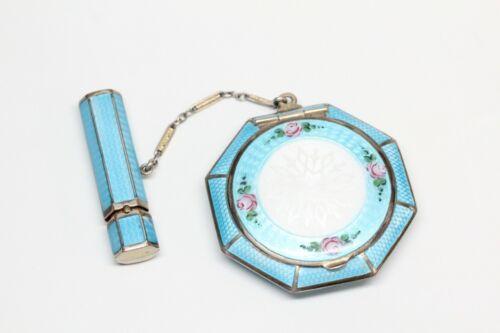 Antique GUILLOCHÉ Enamel Powder Compact and Lipstick Case - Great Condition