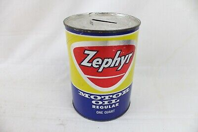 Vintage Metal Gas & Oil Can Bank Advertising Zephyr Motor Oil Quart Paper Label