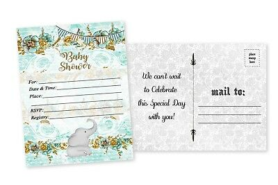 20 Elephant Boy Baby Shower Invitations Boy Cards Invites Decorations Cards