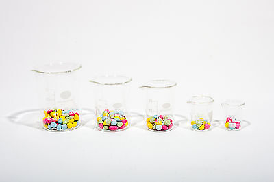 LABORATORY BOROSILICATE GLASS MEASURING BEAKER SET 5;10;25;50;100ML - 1 OF EACH