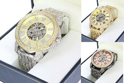 Hip Hop Iced Out Techno King Skeleton Automatic Chronograph Lab Diamonds Watch