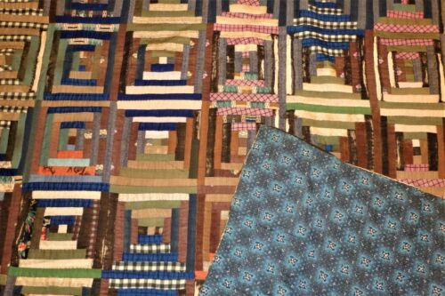 """Antique 1880s Hand Stitched/Quilted LOG CABIN QUILT -Pretty Backing- 76"""" x 82"""""""