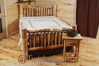 RUSTIC LOG BED - Small Spindles  $299  Ships Free !! Twist of Nature (Natural Wood Pine Bed)
