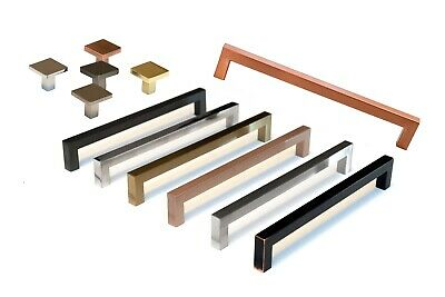 Square Bar Pull Stainless Steel Kitchen Cabinet Handle - Multi Size and Colors